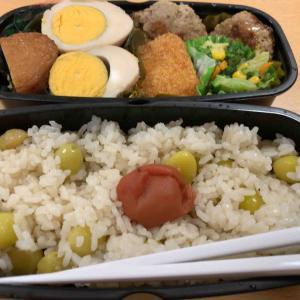 農夫のランチ おでん レンコンのつくね照り焼き 冷凍のお惣菜とエビコロッケ 銀杏ご飯