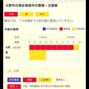 〔大野市災害情報〕大雨警報は継続中(コロナ感染、福井県確認なし)