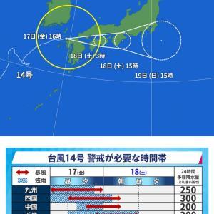 洪水ハザードマップ確認など、台風14号に警戒を(福井県気象情報)
