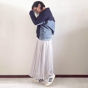 【REAL CUBE】異素材が可愛い~、ソフトデニム切替ニット☆