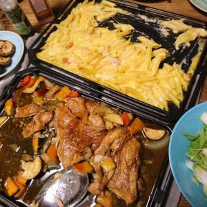 2017/11/28鶏もも肉と野菜のオーブン焼きの夕食