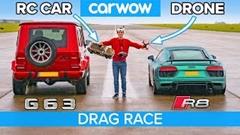 アウディ R8 V10 vs RCカー vs ドローン vs AMG G63 異種ドラッグレース動画