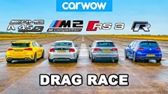 AMG A45 S vs BMW M2  vs アウディ RS3 vs VW ゴルフ R ドラッグレース動画