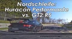 ニュルバトル動画 ポルシェ 991 GT2 RS を追いかける激速ランボルギーニ ウラカン ペルフォルマンテ