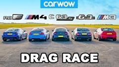 レクサス RC F トラックエディション vs BMW M4 vs BMW M3 vs AMG C63 S vs AMG C63 ドラッグレース動画