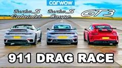 ポルシェ 991 GT3 vs 992 ターボS vs 992 ターボS カブリオレ ドラッグレース動画