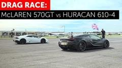 ランボルギーニ ウラカン vs マクラーレン 570GT ドラッグレース動画