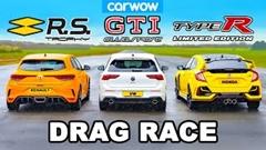 新型VW ゴルフ GTI クラブスポーツ vs ホンダ シビック TYPE R vs ルノー メガーヌ トロフィー ドラッグレース動画