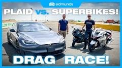 テスラ モデルS プレイド vs スズキ ハヤブサ vs カワサキ ZX-14R ドラッグレース動画