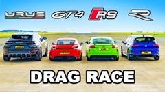 ウルス vs TT RS vs GT4 vs ゴルフR 4,5,6,8気筒ドラッグレース動画