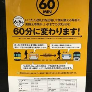東京メトロ 乗換え時間30分から60分に変更