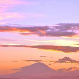 台風一過・夕暮れの富士山
