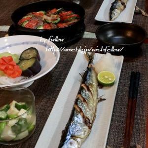 ◆焼き秋刀魚と冬瓜の炊き合わせでおうちごはん♪