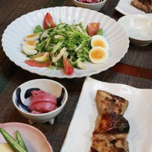 ◆九条ネギと自家製鶏ハムサラダのおうちごはん♪