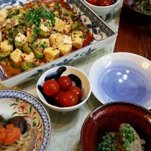 ◆ゴーヤ麻婆豆腐と鶏肝コンフィでおうちごはん♪
