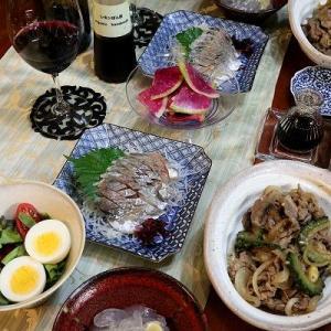◆鯵の刺身とゴーヤ入り牛丼風のおうちごはん♪