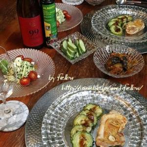 ◆ズッキーニのバジルサラダとチキンソテーのおうちごはん♪