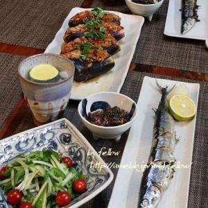 ◆初秋刀魚と家政婦 志麻さん【ナスの豚キムチ詰】のおうちごはん♪~ゆるやか糖質制限中♪