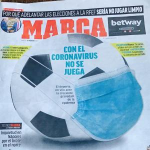 スペインサッカー新聞もコロナウィルスが表紙に