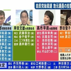 野田は本人入れて2-3人…東海3県の国会議員は現状河野氏が最多8人 6人の高市氏