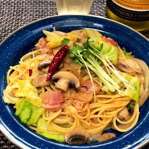 春キャベツとベーコンとマッシュルームのペペロンチーノ 5月26日の自宅昼麺 @ 鷹合倶楽部 200526
