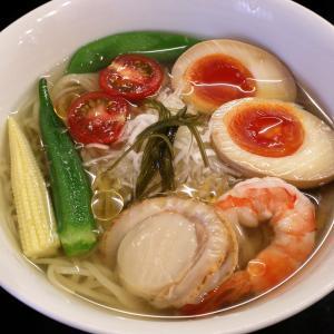 エビとホタテと野菜と私 笑顔の先に麵がある 麵処 にしむら @ 今福鶴見 210709