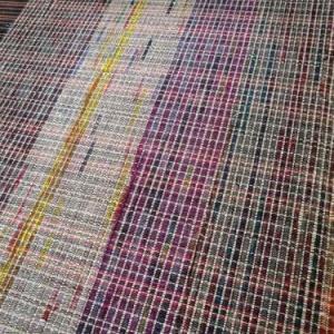 銘仙裂き布+真綿=裂き織り