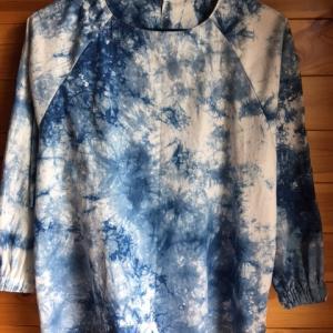 綿ローン籠染め藍生地の作品