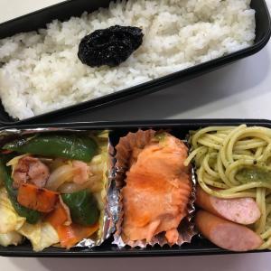 野菜炒めと塩鮭の弁当