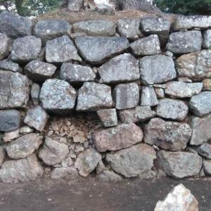 吉田城 石垣が崩れた その奥が見えた