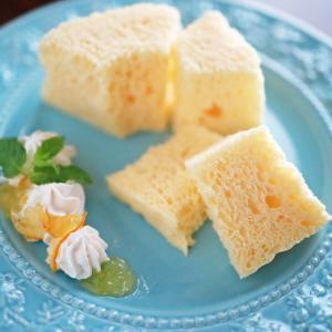 ホットケーキミックスでできる簡単ふんわりシフォンケーキ☆レンジ加熱2分半!