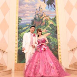 花嫁様からのお写真 ディズニーアンバサダーホテル挙式 ラプンツェルのリースブーケ