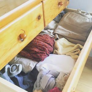 引き出し1つに 8着の服(プラス下着)を収納。 28日間着回しています。