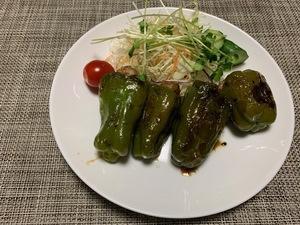 男飯 ~丸ごとピーマンの肉詰め~