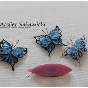 青いモヘヤの蝶のモチーフ 完成。