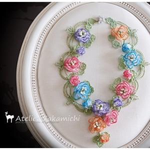 タティング カラフルな薔薇のネックレス「春の喜び」 完成です。