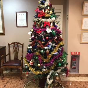 病院エントランスのクリスマスツリー