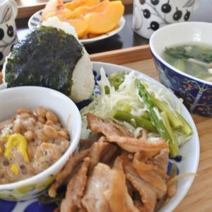豚の生姜焼きの朝ごはん♡と、また熱が