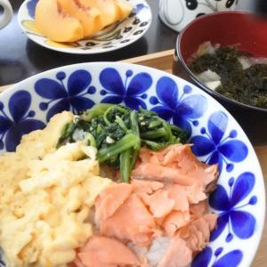 コストコの鮭で三色丼♡と、大学生