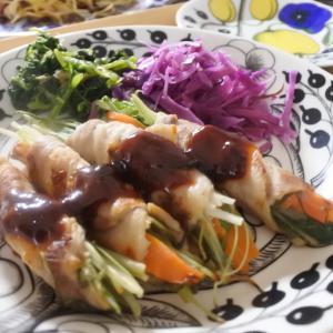 【ソースが美味しい♪洋風の野菜肉巻きの夕食♡と、久しぶりに】