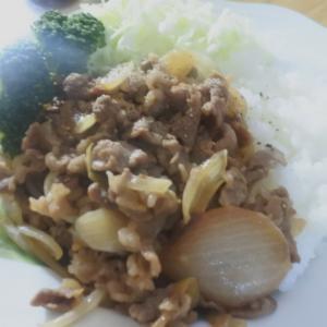 牛肉と玉ねぎのガーリック炒め♡と、食べた食べた♪