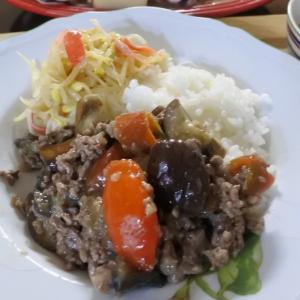 茄子と豚ひき肉のオイスターソースの夕食♡と、昨日何食べた?