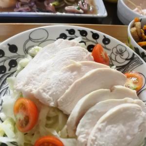 3種のソースで♪柔らか茹で鶏の夕食♡とたんぱく質の話