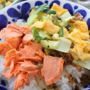 コストコ鮭で2色丼の朝ごはん♡と、記録会