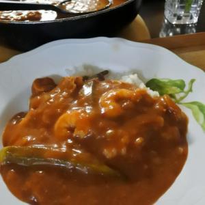 海老と帆立のトマトカレーの夕食♡と、木陰で♪