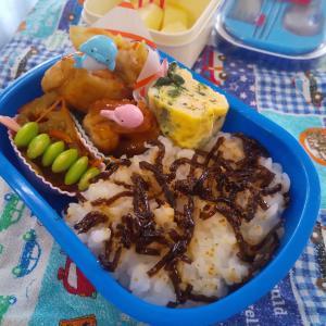 チキンのナポリタン風の幼稚園弁当♡