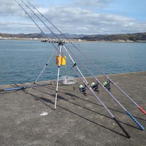 日高の港湾で投げ釣りです