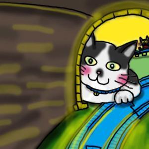プラレールの展望席で巨大ネコ出現!
