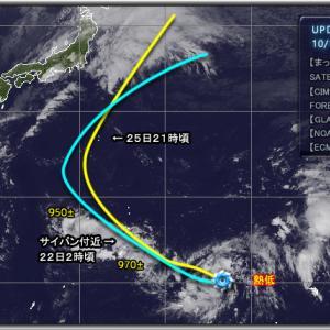 台風21号 予想進路【NOAA・ECMWF】2019/10/19