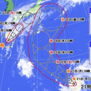 ダブル台風の進路